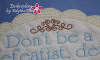 DOWNTON ABBEY STYLE MUG MAT - Don't Be a Defeatist Dear.... - INSTANT DOWNLOAD - Embroidery by EdytheAnne - 2