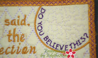 John 11:25 WHOEVER BELIEVES Faith Based Mug Mat/Mug Rug. - INSTANT DOWNLOAD - Embroidery by EdytheAnne - 3