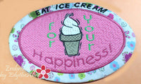 EAT ICE CREAM Mug Mat/Mug Rug In The Hoop design.  Instant Download - Embroidery by EdytheAnne - 2