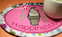 EAT ICE CREAM Mug Mat/Mug Rug In The Hoop design.  Instant Download - Embroidery by EdytheAnne - 3