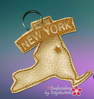 NEW YORK STATE KEY FOB Easy to stitch.  - In The Hoop Machine Embroidery