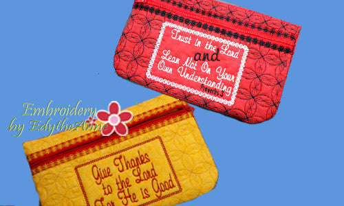 ZIPPERED BAGS Faith Based  Set of two - UPDATED -  INSTANT DOWNLOAD - Embroidery by EdytheAnne - 1