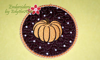 FALL/THANKSGIVING COASTER -  INSTANT DOWNLOAD - Embroidery by EdytheAnne - 1