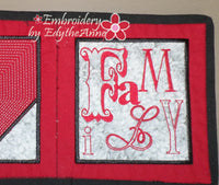 FAMILY TABLE RUNNER IN THE HOOP Embroidery Design - Digital Download