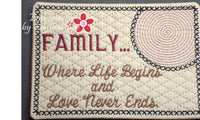FAMILY..Where Life Begins... In The Hoop Embroidered Mug Mats/Mug Rugs. Two piece set. Digital File.Available immediately. - Embroidery by EdytheAnne - 3