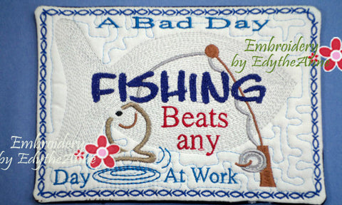 FISHERMAN SPORTS MUG MAT 2 SIZES 2 DESIGNS - INSTANT DOWNLOAD - Embroidery by EdytheAnne - 1