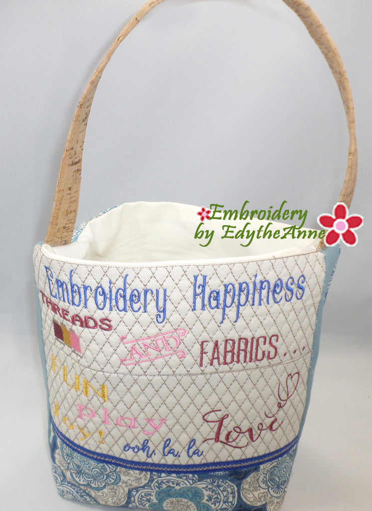 EMBROIDERY HAPPINESS TOTE BAG! in the Hoop Machine Embroidery Design -