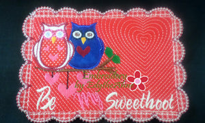 Be My SweetHoot Valentine Mug Mat/Mug Rug 2 Versions. 2 Sizes - INSTANT DOWNOAD - Embroidery by EdytheAnne - 1