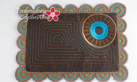 MANDALA INSPIRED In The Hoop Embroidered Mug Mats/Mug Rugs.   - Digital File - Instant Download