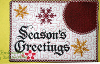 SEASON'S GREETINGS In The Hoop Embroidered Mug Mat Design - Instant Download