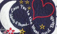 LOVE YOU TO THE MOON... In The Hoop Embroidered Mug Mats/Mug Rugs.  Digital File.Available immediately. - Embroidery by EdytheAnne - 2