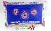 "Accent Throw Pillow ""PROUD TO BE AN AMERICAN"" Patriotic Machine Embroidery Design"