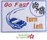 RACE CAR DRIVER  In The Hoop Machine Embroidered Mug Mat/Mug Rug.