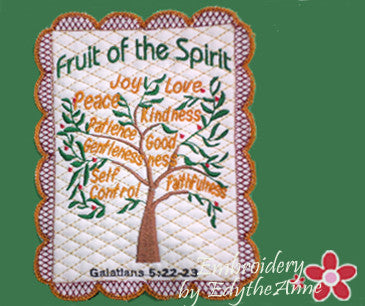 FRUIT OF THE SPIRIT FAITH BASED MUG MAT/MUG RUG - 2 Hoop Sizes. INSTANT DOWNLOAD NOW - Embroidery by EdytheAnne - 1