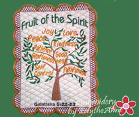 FRUIT OF THE SPIRIT FAITH BASED MUG MAT/MUG RUG - 2 Hoop Sizes. INSTANT DOWNLOAD NOW