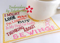 THINKING ABOUT SEWING In The Hoop Whimsical Embroidered Mug Mats/Mug Rugs-Digital Download