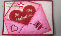 BE MY VALENTINE In The Hoop Embroidered Mug Mats/Mug Rugs - Instant Download