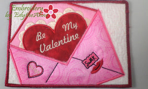 BE MY VALENTINE In The Hoop Embroidered Mug Mats/Mug Rugs - Instant Download - Embroidery by EdytheAnne - 1