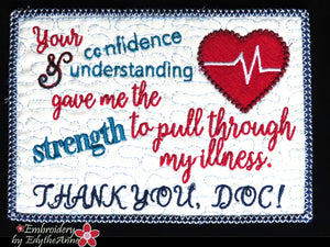 THANK YOU DOC  In The Hoop Mug Mat - Digital Download