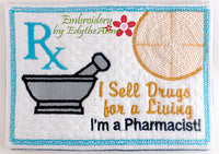 PHARMACIST In The Hoop Machine Embroidered Mug Mat/Mug Rug.