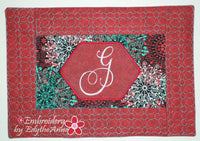 IN THE HOOP MONOGRAM PLACEMATS MACHINE EMBROIDERY