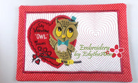 OWL BE YOURS VINTAGE In The Hoop VALENTINE MUG MAT/MUG RUG In The Hoop Embroidery Design