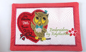 OWL BE YOURS VINTAGE VALENTINE MUG MAT/MUG RUG In The Hoop Embroidery Design - Embroidery by EdytheAnne - 1