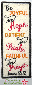 ROMANS 12: 12 BOOK MARK Machine Embroidery In The Hoop Bookmark