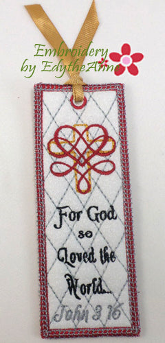 FOR GOD SO LOVED THE WORLD Machine Embroidery In The Hoop Bookmark