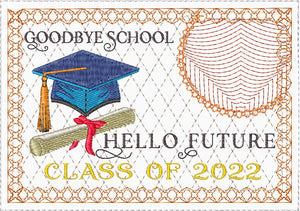 GOODBYE SCHOOL GRADUATE  In The Hoop Machine Embroidered Mug Mat/Mug Rug.