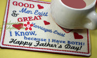 GOOD MEN STILL EXIST In The Hoop Embroidered Mug Mat/Mug Rug.  - Digital File - Instant Download - Embroidery by EdytheAnne - 2