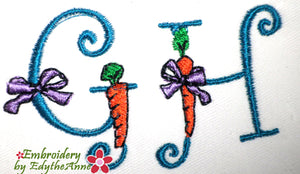 EASTER FONT G & H  Machine Embroidery Design - Digital Download