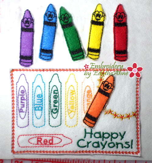 HAPPY CRAYONS DRINK MAT.. In The Hoop  Digital Download
