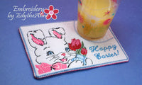 HAPPY EASTER BUNNY In The Hoop Vintage Style Embroidered Mug Mat/ Mug Rug/Drink Mat - INSTAND DOWNLOAD - Embroidery by EdytheAnne - 3
