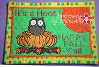 HAPPY FALL MUG MAT/MUG RUG In The Hoop Embroidery Design - Embroidery by EdytheAnne - 2