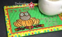 HAPPY FALL IT'S A HOOT MUG MAT/MUG RUG In The Hoop Embroidery Design