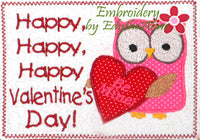VALENTINE applique In The Hoop Embroidered Mug Mat.  Happy, Happy, Happy Valentine Day!. DIGITAL DOWNLOAD