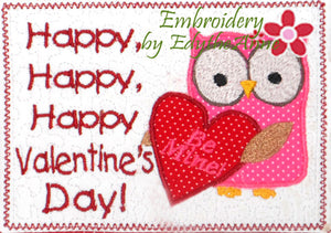 VALENTINE applique In The Hoop Embroidered Mug Mat.  Happy, Happy, Happy Valentine Day!. INSTANT DOWNLOAD - Embroidery by EdytheAnne