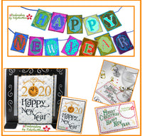 HAPPY NEW YEAR BUNDLE IN THE HOOP MACHINE EMBROIDERY - Save on Bundle- Digital Downloads