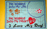 I LOVE MY DOG In The Hoop Embroidered Mug Mat/Mug Rug.  Easy and quick to stitch.  - Digital File - Instant Download - Embroidery by EdytheAnne - 2