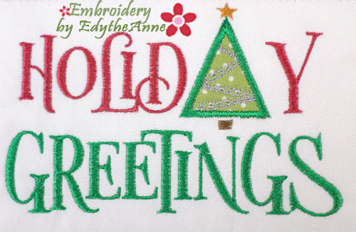 HOLIDAY GREETINGS Machine Embroidery Design - Digital Download