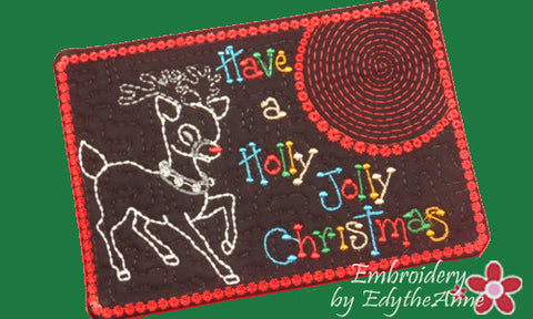 CHRISTMAS MUG MAT/Mug Rug. Holly Jolly Christmas. IN THE HOOP - INSTANT DOWNLOAD - Embroidery by EdytheAnne - 1