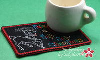 CHRISTMAS MUG MAT/Mug Rug. Holly Jolly Christmas. IN THE HOOP - INSTANT DOWNLOAD - Embroidery by EdytheAnne - 2