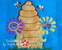 HONEY BEE HIVE APPLIQUE-
