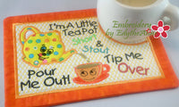 I'M A LITTLE TEAPOT MUG MAT/MUG RUG In The Hoop Embroidery Design - Embroidery by EdytheAnne - 2