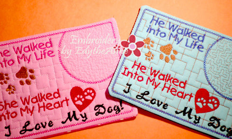 I LOVE MY DOG In The Hoop Embroidered Mug Mat/Mug Rug.  Easy and quick to stitch.  - Digital File - Instant Download - Embroidery by EdytheAnne - 1