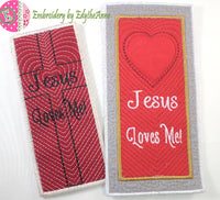 JESUS LOVES ME-2 Versions -  In The Hoop Bookmark - Digital Download
