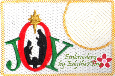 JOY Christmas Mug Mat   - INSTANT DOWNLOAD - Embroidery by EdytheAnne - 1