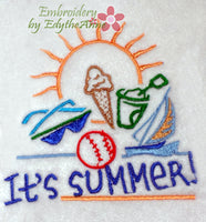 IT'S SUMMER! -MACHINE EMBROIDERY -DIGITAL DOWNLOAD