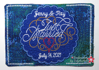 JUST MARRIED IN THE HOOP MUG MAT/MUG RUG. Available in two sizes. DIGITAL DOWNLOAD